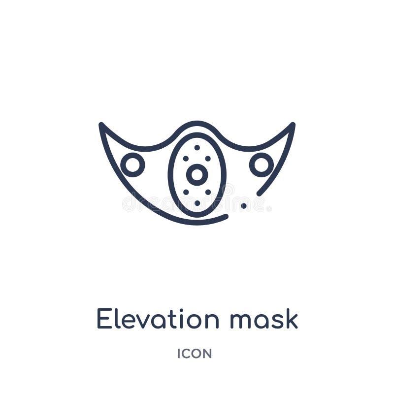 从健身房和健身概述汇集的线性海拔面具象 稀薄的线海拔在白色背景隔绝的面具象 皇族释放例证