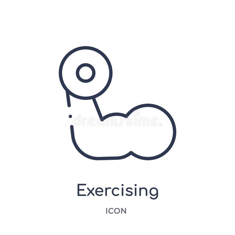 从健身房和健身概述汇集的线性行使的哑铃象 行使哑铃象的稀薄的线隔绝在白色 向量例证