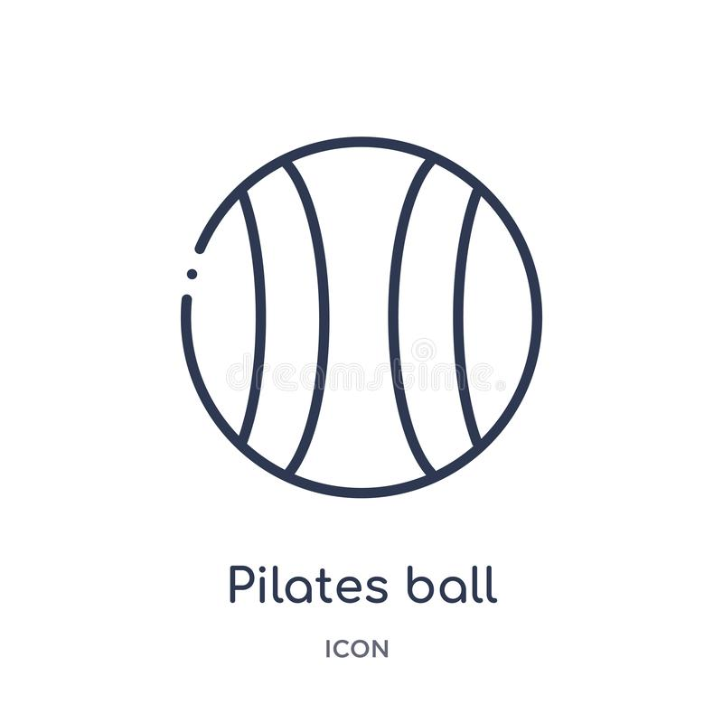 从健身房和健身概述汇集的线性pilates球象 稀薄的线pilates在白色背景隔绝的球象 库存例证