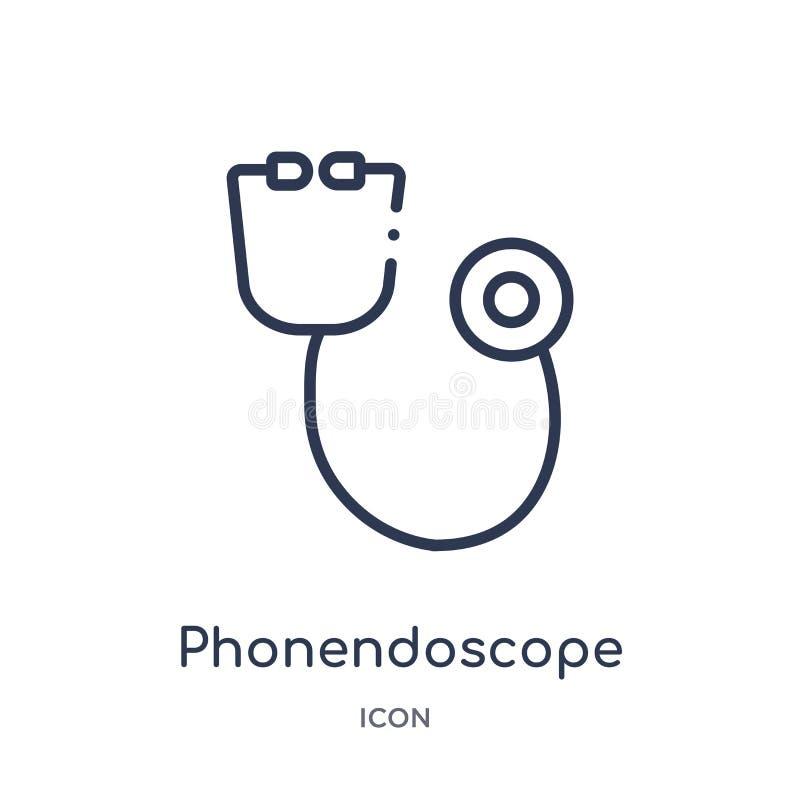 从卫生医疗概述收藏的线性phonendoscope象 稀薄的线在白色背景隔绝的phonendoscope象 向量例证