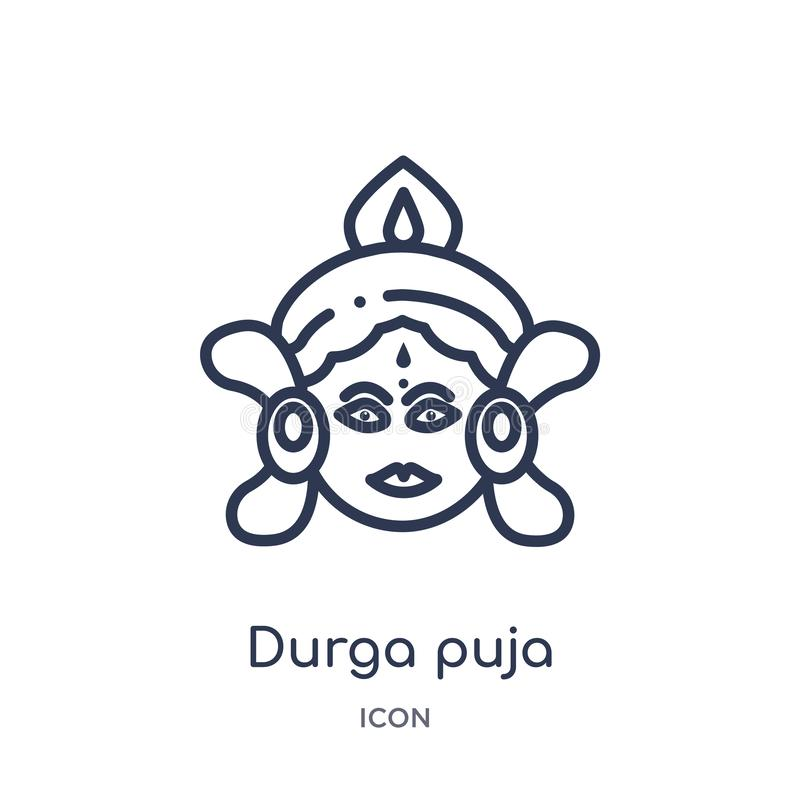 从印度概述汇集的线性durga puja象 稀薄的线durga在白色背景隔绝的puja象 时髦durga的puja 向量例证