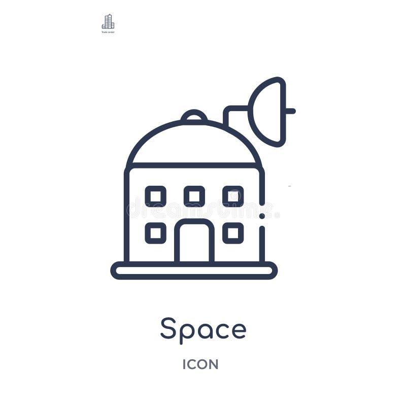 从大厦概述汇集的线性空间象 稀薄的线在白色背景隔绝的空间向量 时髦的空间 库存例证