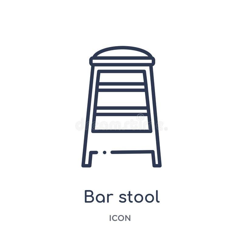 从大厦概述汇集的线性高凳象 稀薄的线在白色背景隔绝的高凳象 时髦的高凳 库存例证