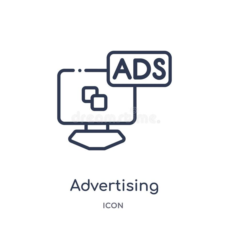 从大纲汇集的线性广告的网络象 给稀薄的线在白色背景隔绝的网络象做广告 库存例证