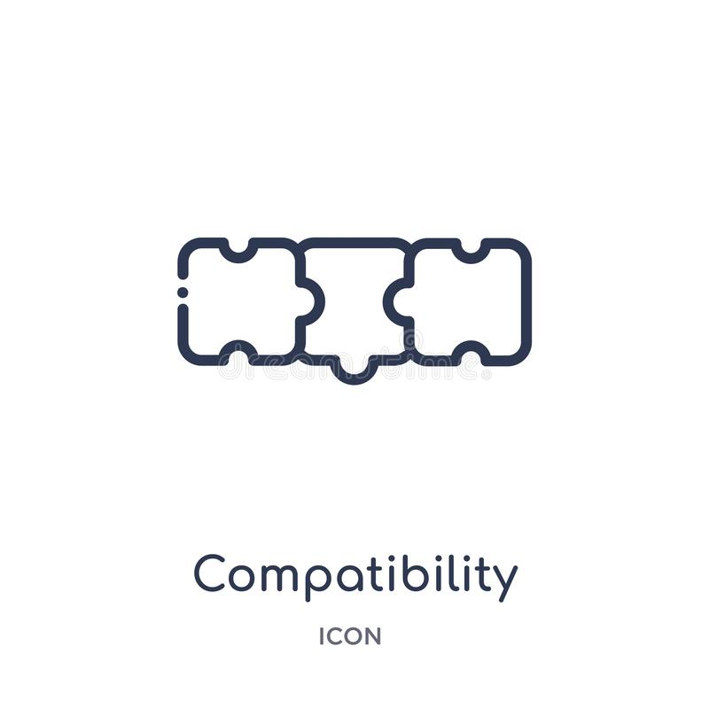 从大纲汇集的线性兼容性象 稀薄的线在白色背景隔绝的兼容性象 向量例证