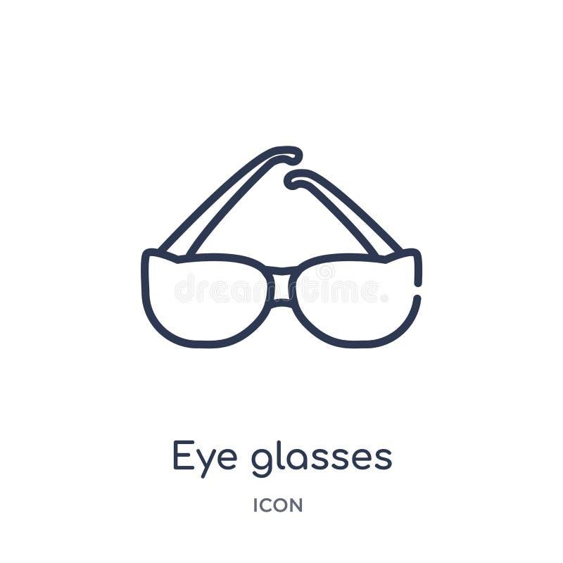 从大纲汇集的线性眼睛玻璃象 稀薄的线眼睛在白色背景隔绝的玻璃象 眼睛玻璃 皇族释放例证