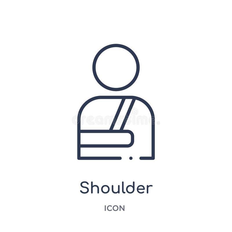 从大纲汇集的线性肩膀麻醉器象 稀薄的线肩膀在白色背景隔绝的麻醉器象 向量例证