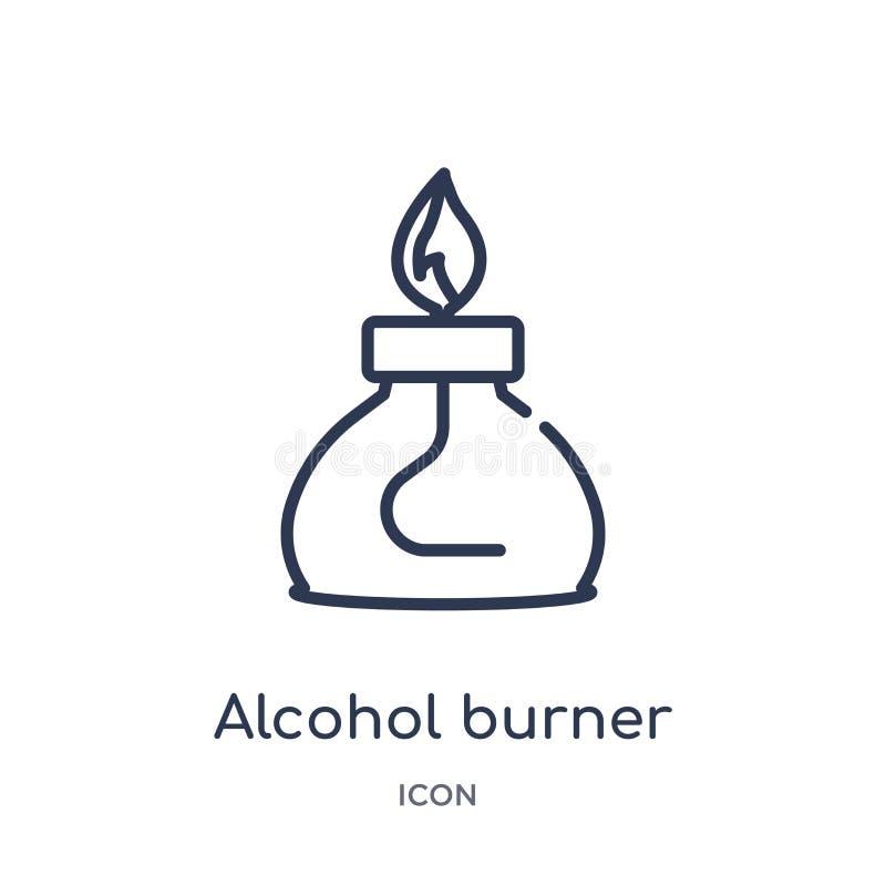从大纲汇集的线性酒精燃烧器象 稀薄的线酒精在白色背景隔绝的燃烧器象 酒精 向量例证