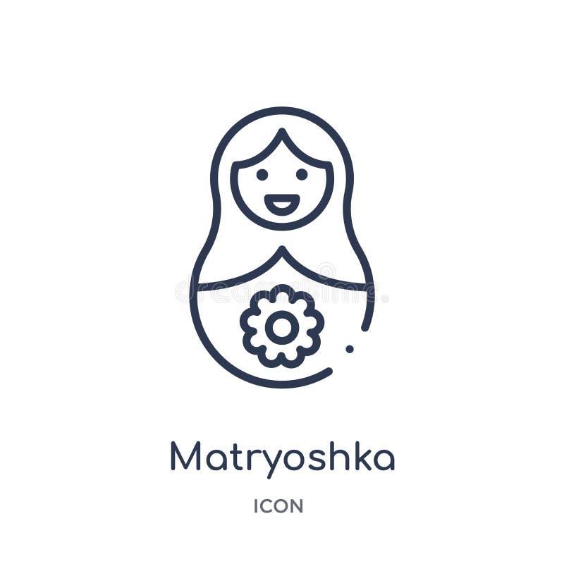 从大纲汇集的线性matryoshka象 稀薄的线在白色背景隔绝的matryoshka象 时髦的matryoshka 库存例证