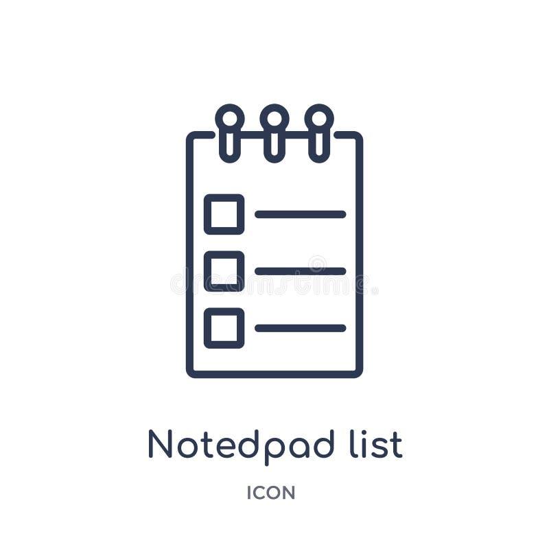 从大纲汇集的线性notedpad名单象 稀薄的线notedpad在白色背景隔绝的名单象 notedpad 库存例证