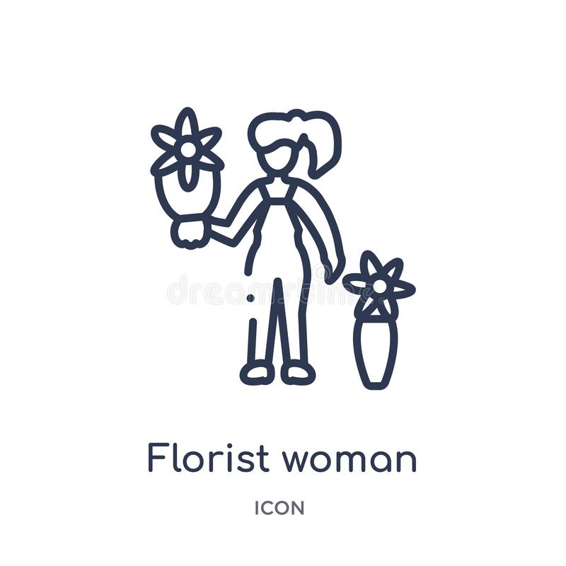 从夫人概述汇集的线性卖花人妇女象 稀薄的线卖花人在白色背景隔绝的妇女象 卖花人妇女 库存例证