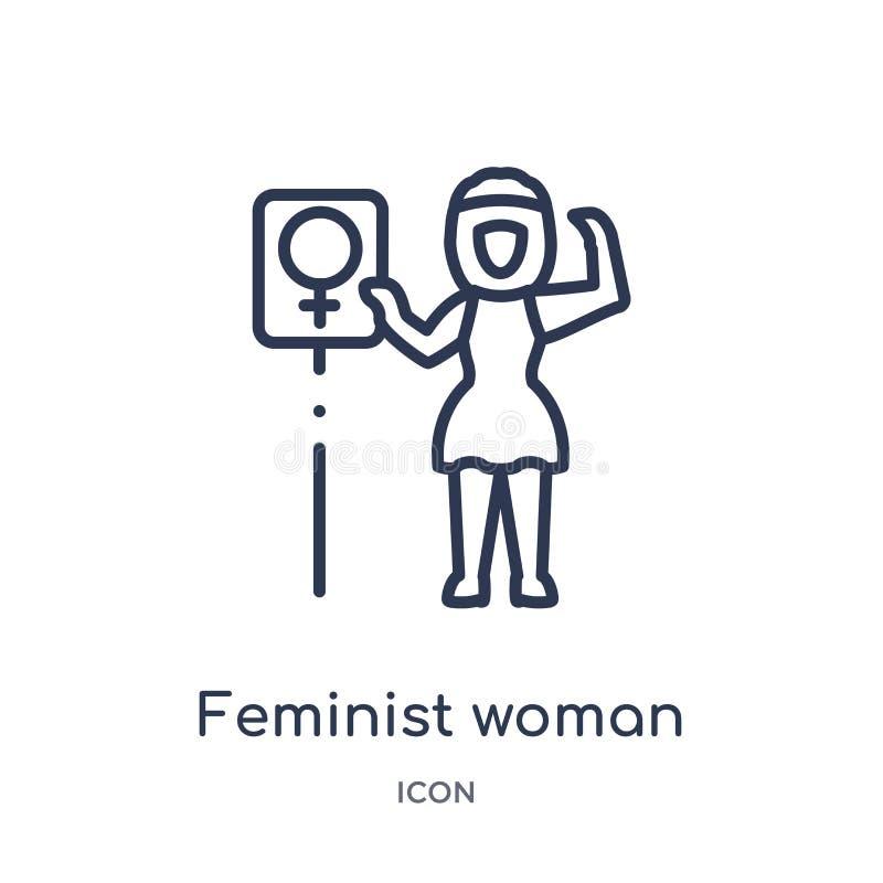 从夫人概述汇集的线性女权妇女象 稀薄的线在白色背景隔绝的女权妇女象 女权 库存例证
