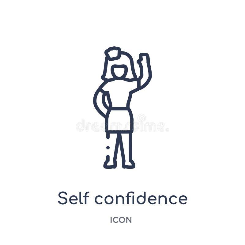 从夫人概述汇集的线性自信心象 稀薄的线在白色背景隔绝的自信心象 自 向量例证