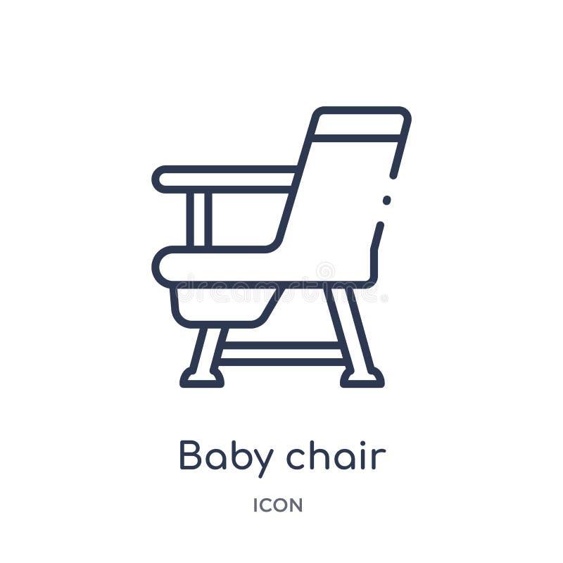 从孩子和婴孩概述汇集的线性婴孩椅子象 稀薄的线婴孩在白色背景隔绝的椅子象 婴孩椅子 皇族释放例证