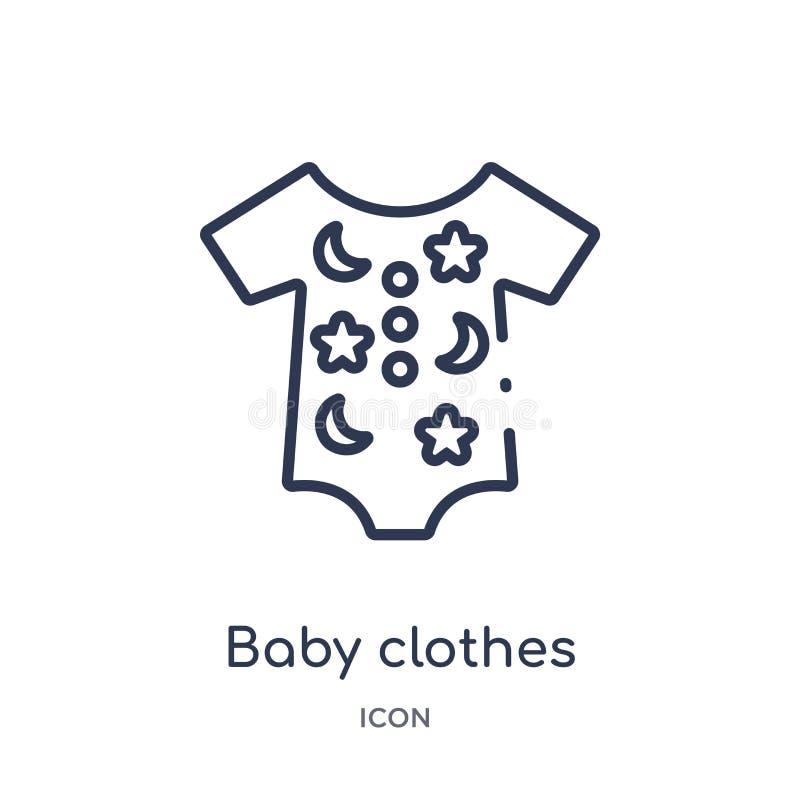 从孩子和婴孩概述汇集的线性婴孩衣裳象 稀薄的线婴孩在白色背景隔绝的衣裳象 婴孩 向量例证