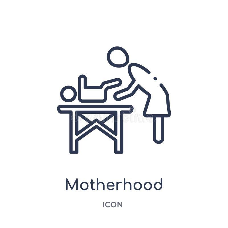 从孩子和婴孩概述汇集的线性母性象 稀薄的线在白色背景隔绝的母性象 母性 皇族释放例证