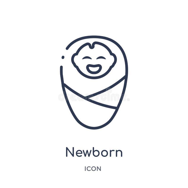 从孩子和婴孩概述汇集的线性新出生的象 稀薄的线在白色背景隔绝的新出生的象 新出生时髦 库存例证