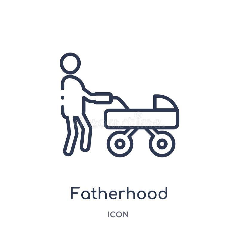 从孩子和婴孩概述汇集的线性父权象 稀薄的线在白色背景隔绝的父权象 父权 皇族释放例证