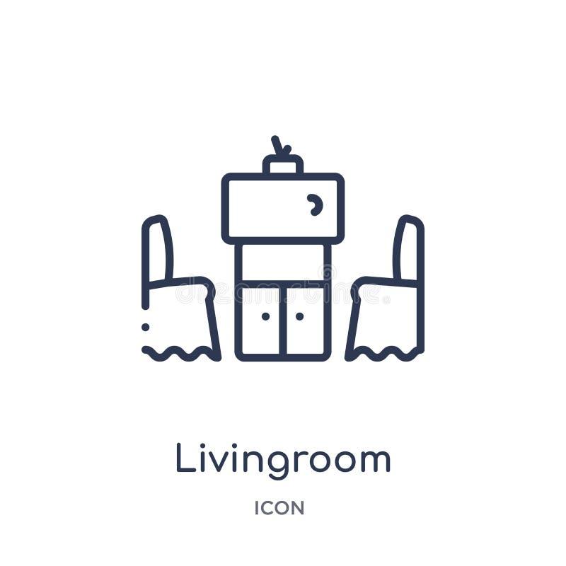 从家具和家庭概述汇集的线性客厅象 稀薄的线在白色背景隔绝的客厅象 皇族释放例证