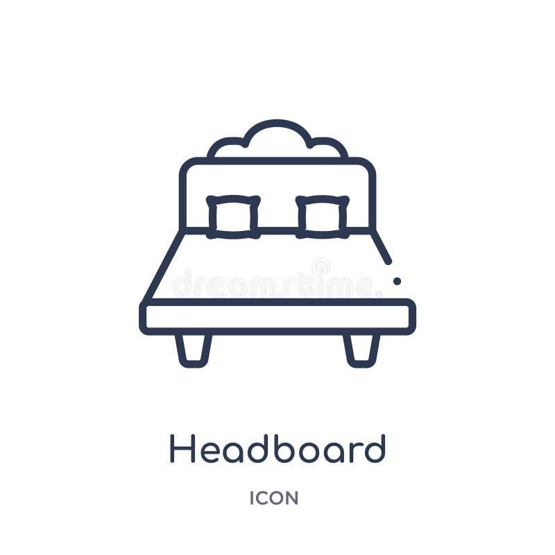 从家具和家庭概述汇集的线性床头板象 稀薄的线在白色背景隔绝的床头板象 皇族释放例证