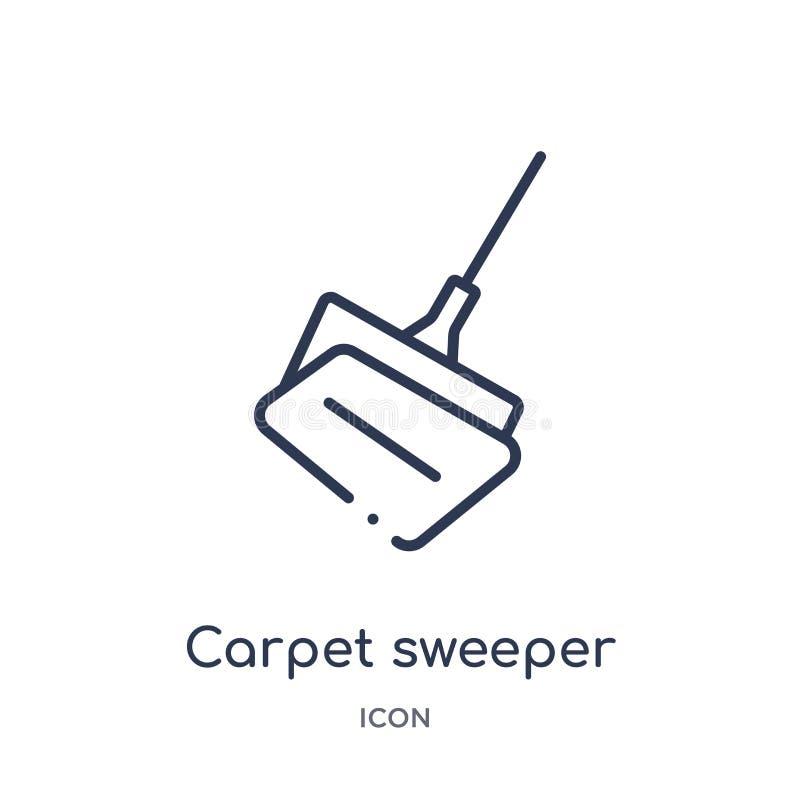 从家具和家庭概述汇集的线性扫毯器象 稀薄的线在白色隔绝的扫毯器象 皇族释放例证