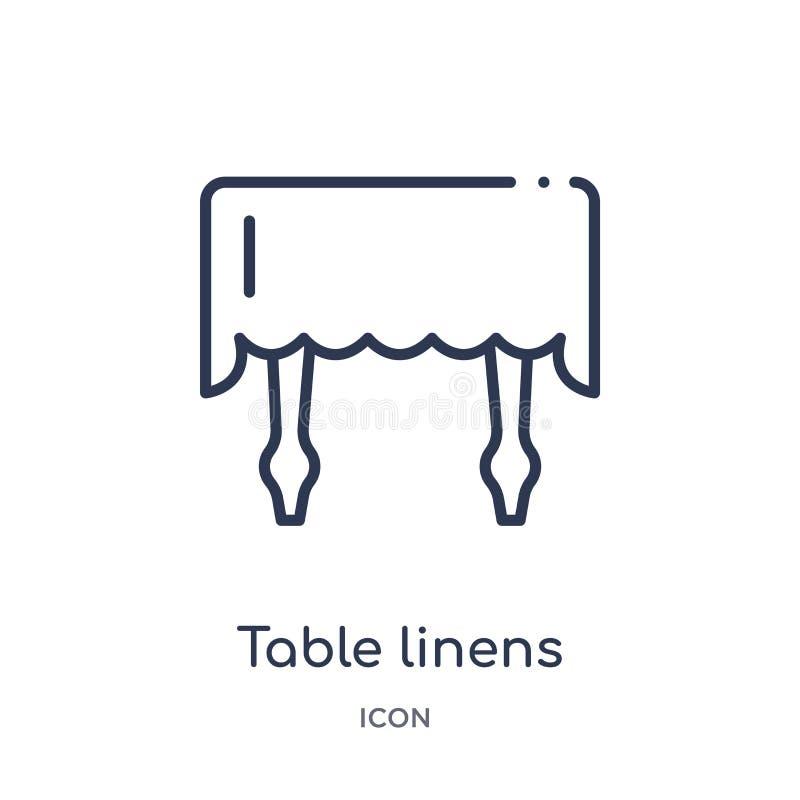从家具和家庭概述汇集的线性餐布象 稀薄的线在白色背景隔绝的餐布象 皇族释放例证