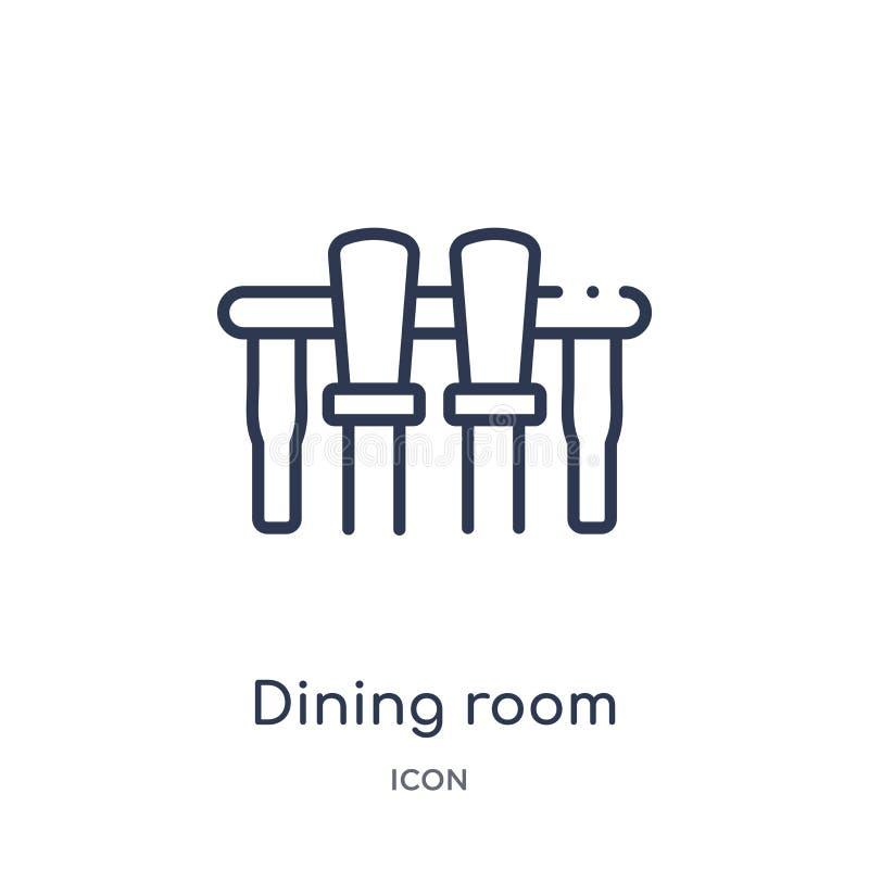 从家具和家庭概述汇集的线性餐厅象 稀薄的线在白色背景隔绝的餐厅象 向量例证