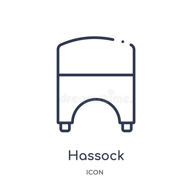 从家具和家庭概述汇集的线性hassock象 稀薄的线在白色背景隔绝的hassock象 hassock 库存例证