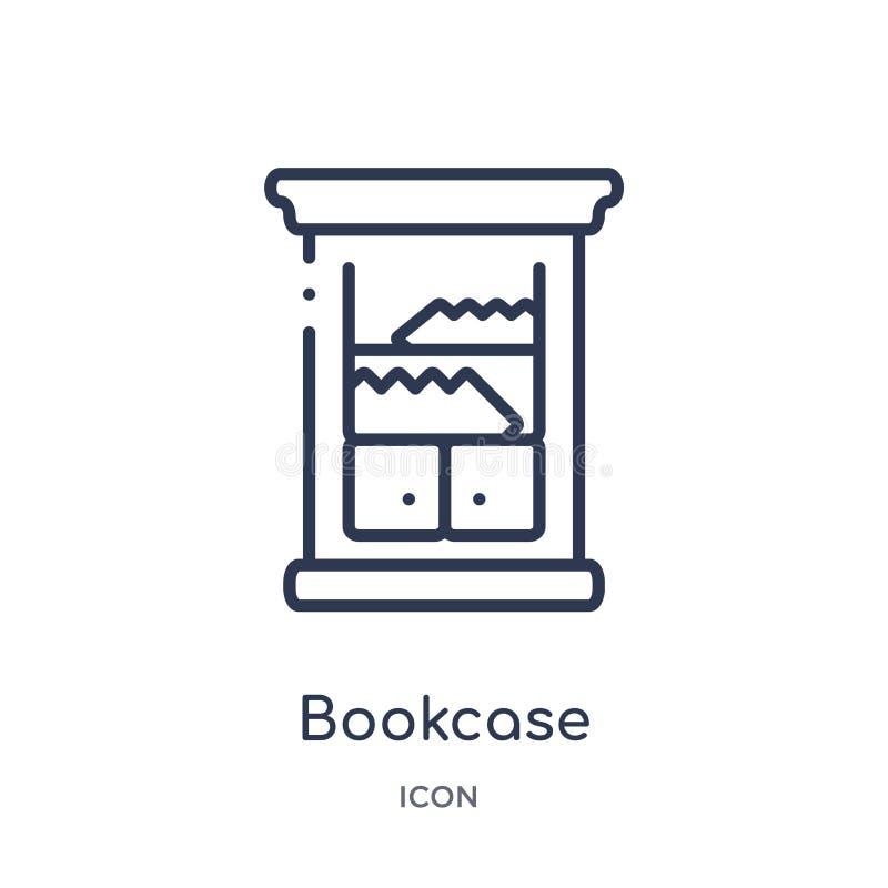 从家具概述汇集的线性书橱象 稀薄的线在白色背景隔绝的书橱象 时髦的书橱 库存例证