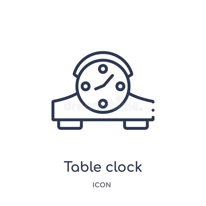 从家具概述汇集的线性台式时钟象 稀薄的线在白色背景隔绝的台式时钟象 台式时钟 库存例证
