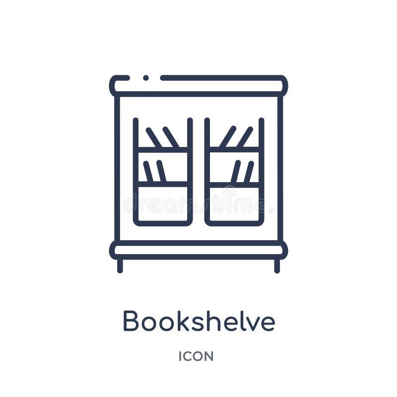 从家具概述汇集的线性bookshelve象 稀薄的线在白色背景隔绝的bookshelve象 bookshelve 皇族释放例证