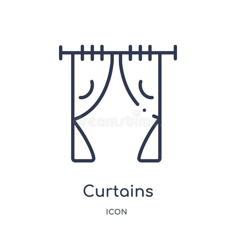 从家具&家庭概述汇集的线性帷幕象 稀薄的线在白色背景隔绝的帷幕象 窗帘 向量例证