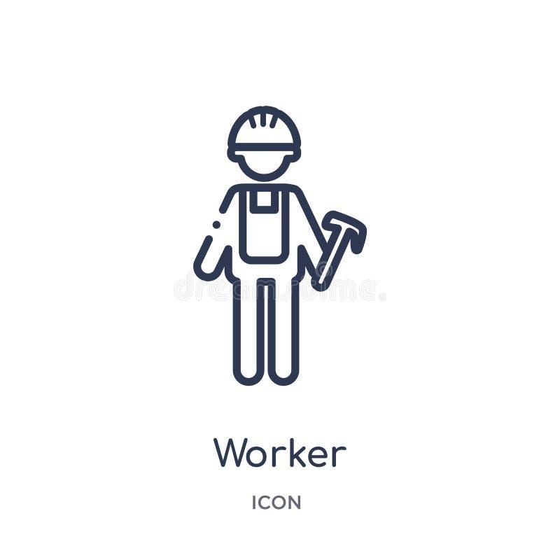 从工作赢利概述汇集的线性工作者象 稀薄的在白色背景隔绝的线路工象 时髦的工作者 皇族释放例证