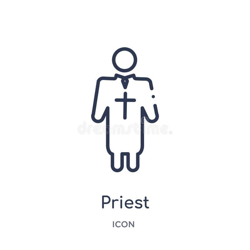 从工作赢利概述汇集的线性教士象 稀薄的线在白色背景隔绝的教士象 时髦的教士 皇族释放例证