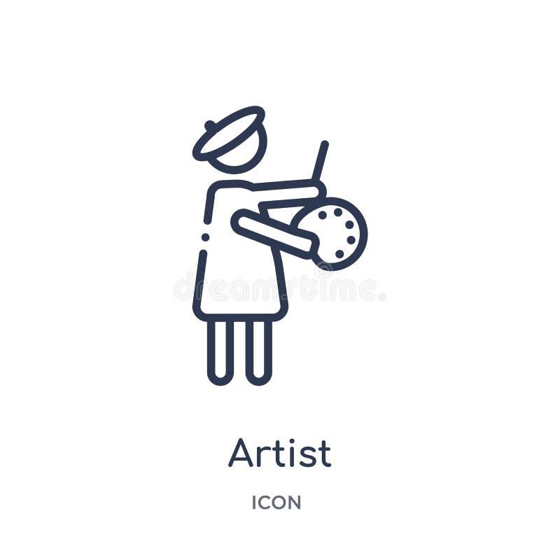 从工作赢利概述汇集的线性艺术家象 稀薄的线在白色背景隔绝的艺术家象 时髦的艺术家 皇族释放例证