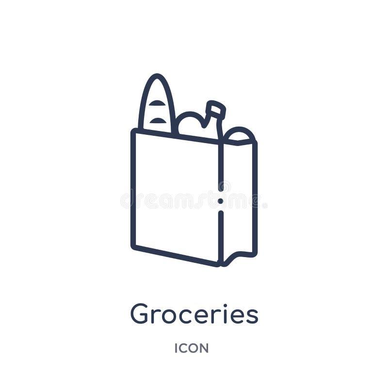 从快餐概述汇集的线性杂货象 稀薄的线杂货在白色背景导航隔绝 时髦的杂货 库存例证