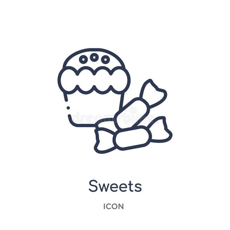 从圣诞节概述汇集的线性甜点象 稀薄的线甜点在白色背景导航隔绝 时髦的甜点 皇族释放例证