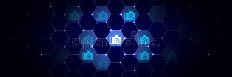 从在技术设置的设备摄影的特殊效果象 向量例证