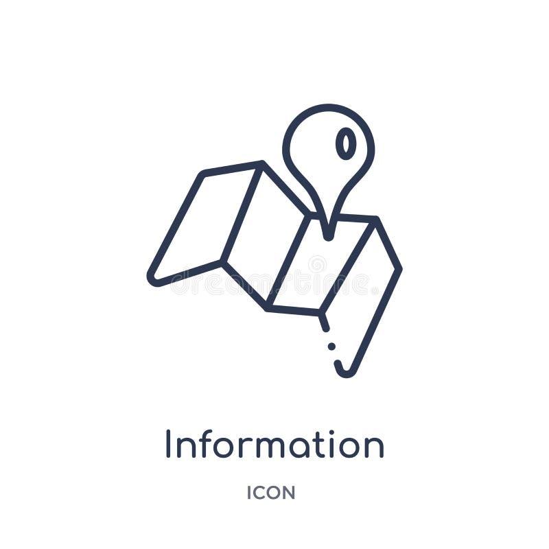 从地图和地点概述汇集的线性信息点别针象 稀薄的线信息点被隔绝的别针象  向量例证