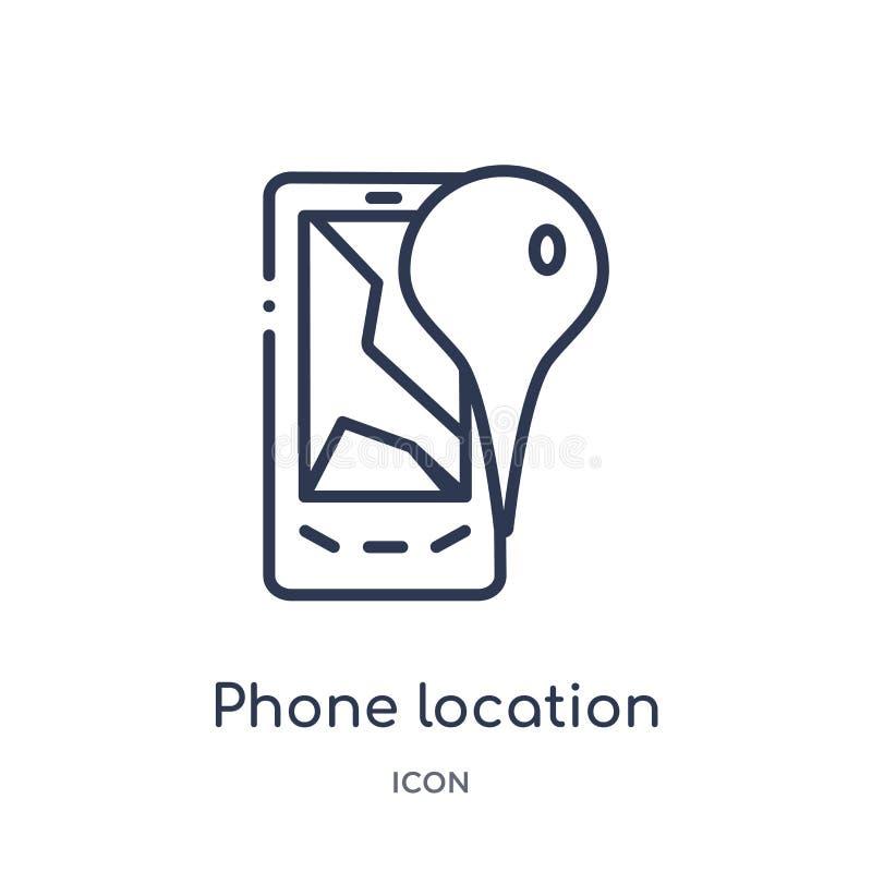 从地图和地点概述汇集的线性电话地点象 稀薄的线电话在白色背景隔绝的地点象 库存例证