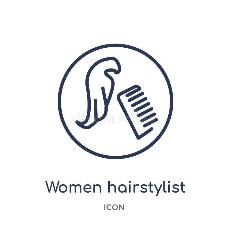 从地图和旗子概述的线性妇女发式专家象汇集 稀薄的线妇女在白色隔绝的发式专家象 向量例证