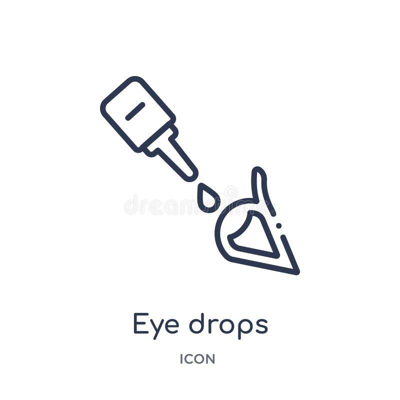 从医疗概述收藏的线性眼药水象 稀薄的线眼药水在白色背景隔绝的象 时髦的眼药水 向量例证