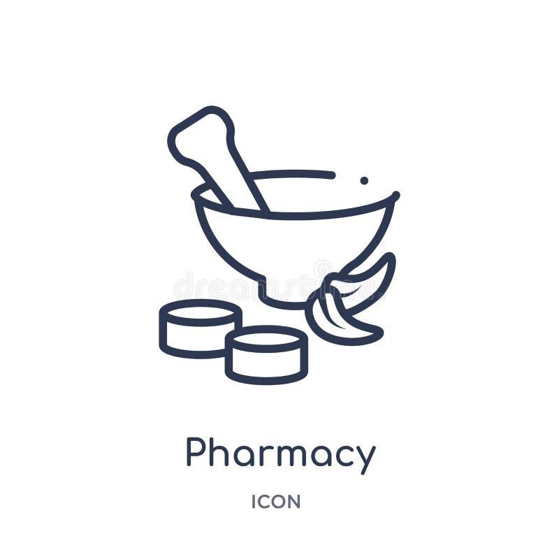 从医疗概述收藏的线性药房象 稀薄的线在白色背景隔绝的药房象 时髦的药房 向量例证