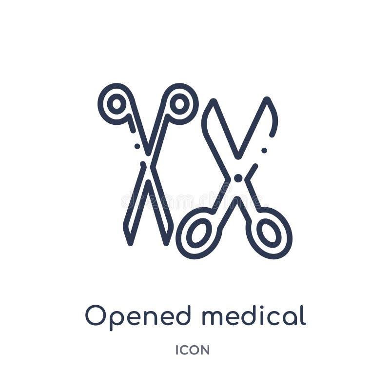 从医疗概述收藏的线性被打开的医疗剪刀象 稀薄的线打开了在白色隔绝的医疗剪刀象 皇族释放例证
