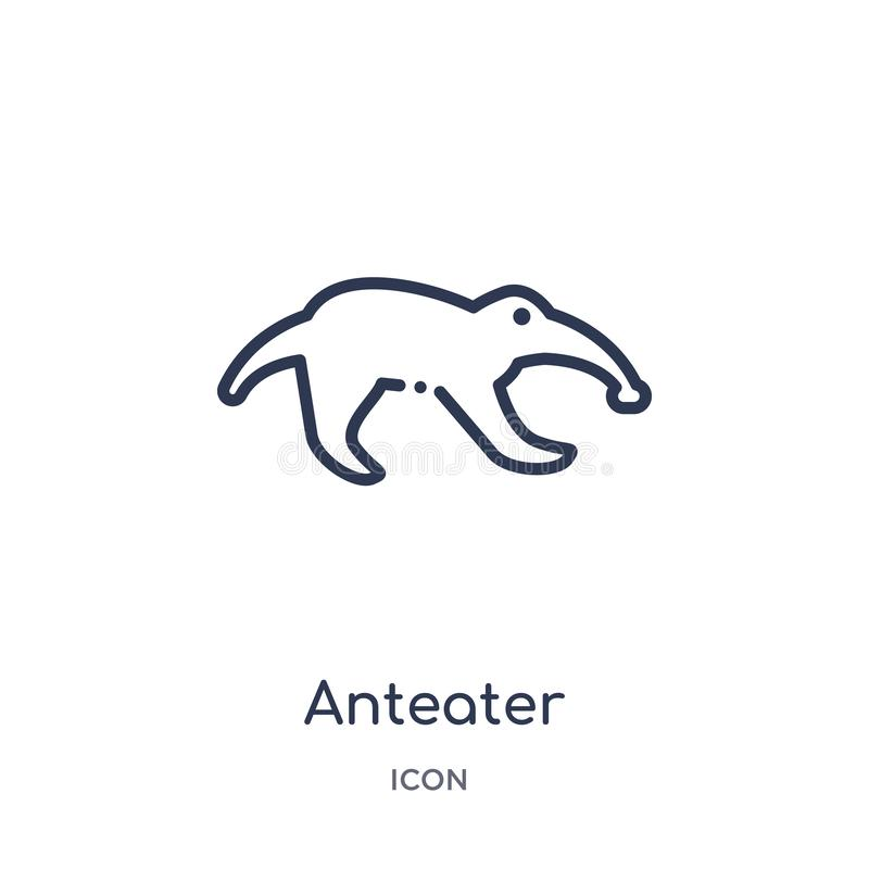 从动物概述汇集的线性食蚁兽象 稀薄的线在白色背景隔绝的食蚁兽象 时髦的食蚁兽 向量例证