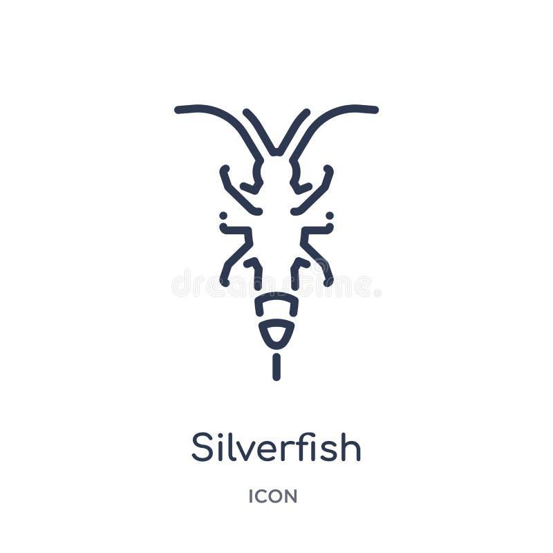 从动物概述汇集的线性银鱼象 稀薄的线在白色背景隔绝的银鱼象 时髦的银鱼 库存例证