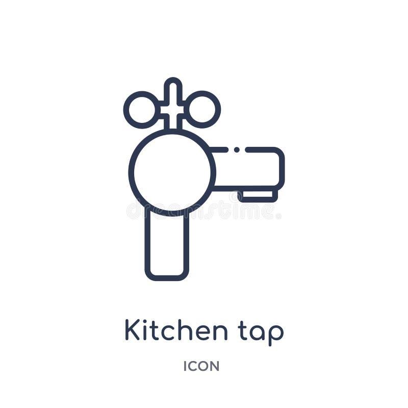 从厨房概述汇集的线性厨房轻拍象 稀薄的线厨房在白色背景隔绝的轻拍象 厨房轻拍 向量例证