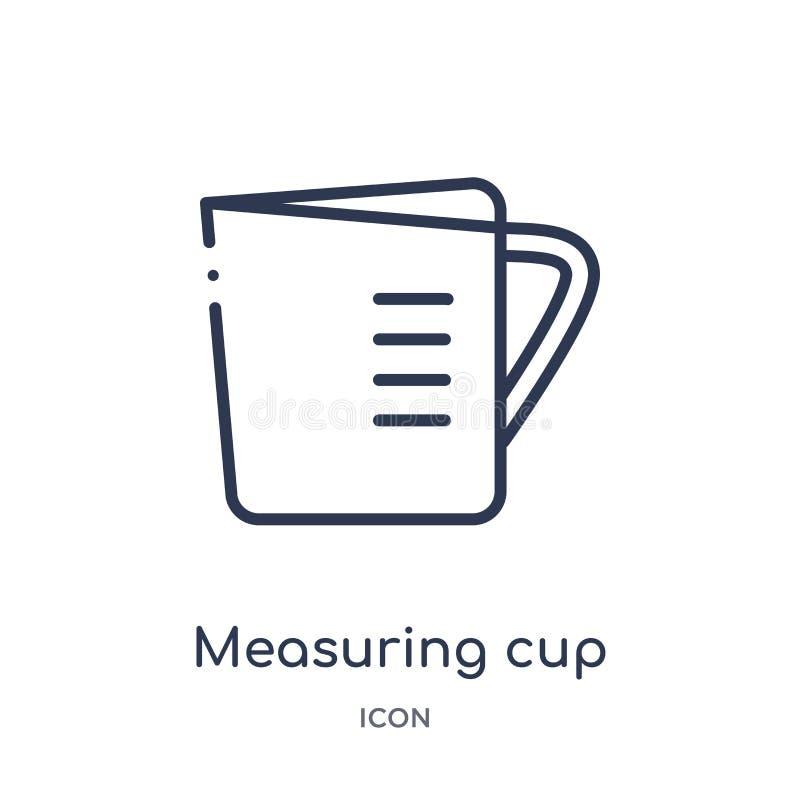 从厨房概述汇集的线性量杯象 稀薄的线在白色背景隔绝的量杯象 评定 向量例证