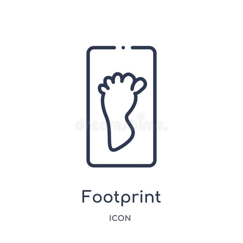 从历史概述汇集的线性脚印象 稀薄的线在白色背景隔绝的脚印象 时髦的脚印 库存例证