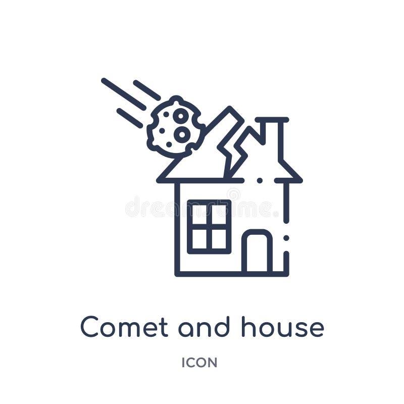 从气象学概述汇集的线性彗星和房子象 稀薄的线彗星和在白色背景隔绝的房子象 库存例证